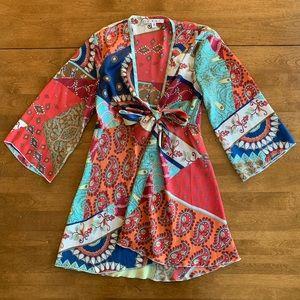 Cabi Silky Patchwork Boho Style Kimono. XS.